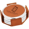 Leatherette Silver Edge Round 4-Coaster Set (Rawhide/Silver)