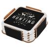 Leatherette Metallic Edge Square 4-Coaster Set (Black/Silver)