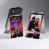 A-Frame Phone Holder, Clear Acrylic with Decorative Border Photo Holder