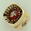 Sterling Corporate Crest Ring W/ Large Square Center