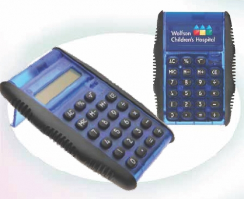 Auto-Flip Cover Calculator with Black Rubber Side Grips