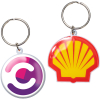 Custom Die Cast Keychain w/Offset Print & Epoxy Dome - 2 Side Imprint