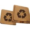 Laser Engraved Recycled Cork Coaster Set - Square